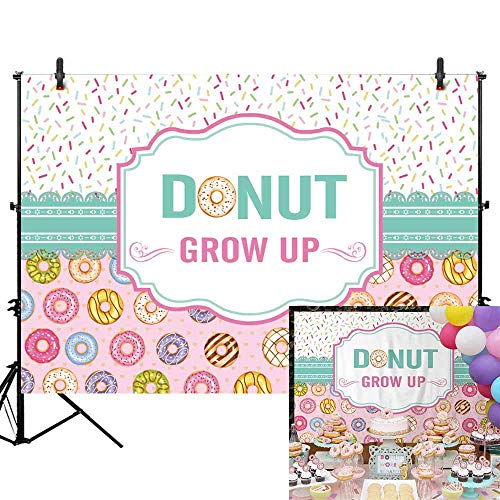Allenjoy 7x5ft Donut Grow Up Backdrop for Newborn Baby Shower Sweet Girl Princess Baby First 1st Birthday Party Background Doughnut Cake Table Banner Decorations Supplies Photo Studio Props]()