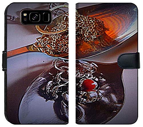 - Samsung Galaxy S8 Flip Fabric Wallet Case Image of Spoon Health red Drug Healthy Ill Medication Illness Care Medicine Black Vitamin White Food Kitchen