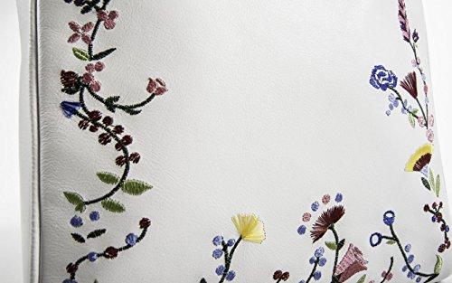 Letizia - Bianca - Borsa in pelle ricamata - PassioneBags - Made in Italy