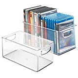 mDesign Stackable Household Storage Organizer Container Bin for DVDs, PS4, Nintendo and Xbox Video Games, Controllers and Head Sets - Pack of 2, Medium, Clear