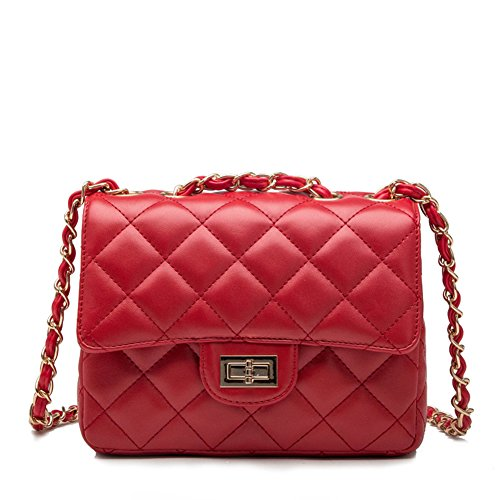 Kipten Quilted Leather Crossbody Handbag Purse with Metal Chain (Red Quilted Purse)