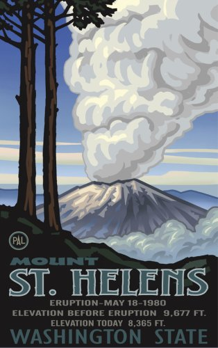 Northwest Art Mall Poster Mount St. Helen's Eruption by Paul A. Lanquist