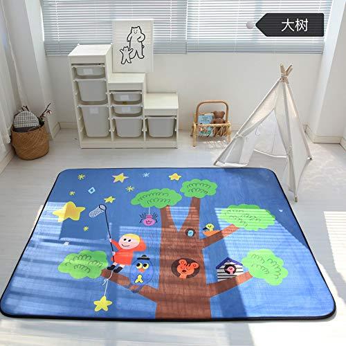 Vier Seasons Samtiger Langsamer Rebound Verdickte Wohnzimmer Matte Kind Rutschfest Kriechntes Pad Baby-pad Game Carpet Rund 150  195cm Puzzle-Park Tree