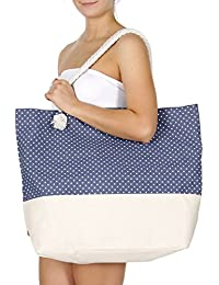 Extra Large Canvas Beach Tote Bag, Top Zipper Shoulder Bag for Beach Travel
