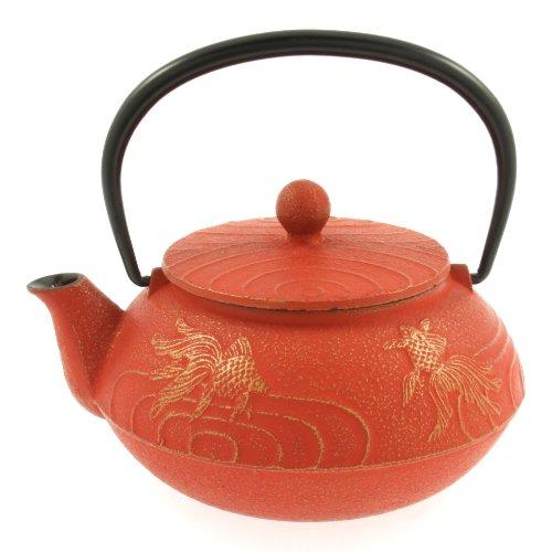 Iwachu Japanese Iron Teapot Tetsubin Gold and Cinnabar Goldfish by Iwachu