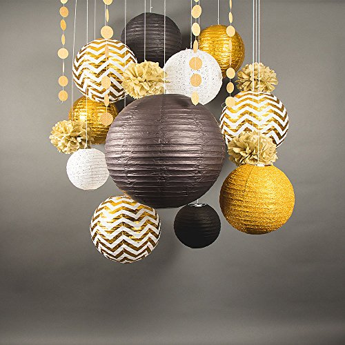 Quasimoon PaperLanternStore.com 14-pc Gold/Black New Year's Eve Celebration Party Pack Paper Lantern Combo Set