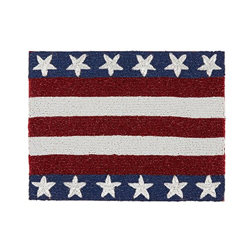 Northeast Home Goods Beaded Stars and Stripes Rectangular Placemat Table Centerpiece