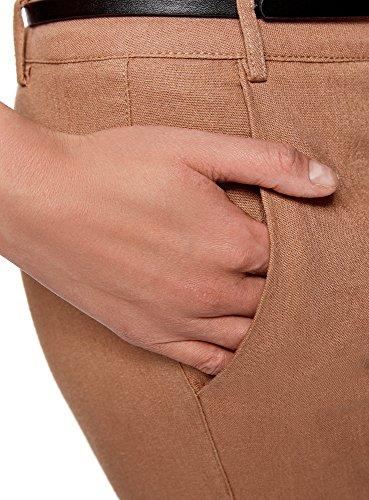 oodji Ultra Mujer Pantalones Ajustados con Cinturón Beige (3500N)
