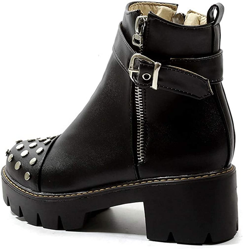 CYBLING Womens Trendy Round Toe Platform Side Zipper Booties Motorcycle Chunky Heel Short Boots