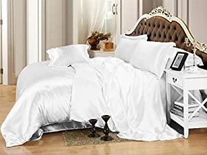 Ultra Soft Luxurious Satin 3-Peice Duvet Set Super Silky Vibrant with comes in many colors like White King/Cal-King