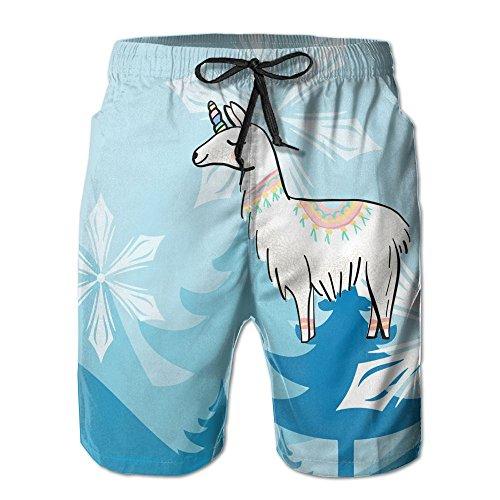 Men's Cool and Stylish SHY Cartoon Llama Unicorn Alpaca Summer Beach Pants Board Pants