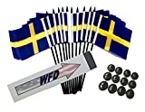 Box of 12 Sweden 4''x6'' Polyester Miniature Office Desk & Little Table Flags, 4x6 Swedish Small Mini Hand Waving Stick Flags with 12 Flag Bases (Stands)