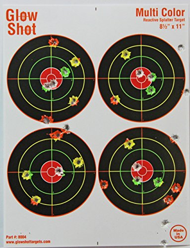 Review 25 Pack – 4 Bullseye 8 1/2″ by 11″ – Reactive Splatter Targets – GlowShot – Multi Color – See Your Hits Instantly – Gun and Rifle Targets