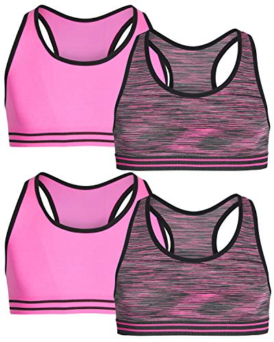 Only Girls by Rene ROFE Girl Seamless Criss Cross Racerback Sports Bra, (4 Pack) (X-Large - 14, Space Dye/Pink)'