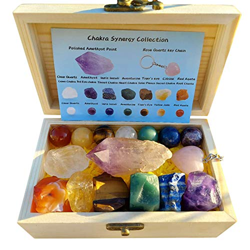 Chakra Synergy Healing Crystal Collection in Wooden Box, 16 pcs, 7 Raw Chakra Stones, 7 Chakra Spheres, 1 Natural…