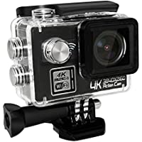 ANTIEE 4K WIFI Sports Action Camera Ultra HD Waterproof DV Camcorder 12MP 170 Degree Wide Angle 2 Inch LCD Screen Black