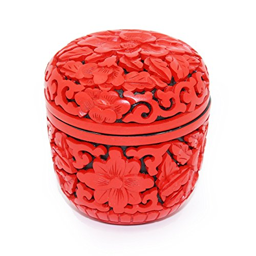 Chinese Style Handmade Ancient Craft Carved Lacquerware Hand Carved Red lacquer Peony Flower Jewelry box, Beautifully... Chinese Carved Lacquer