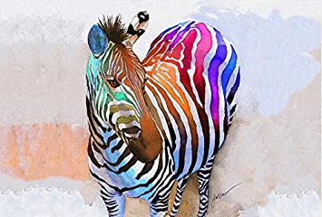 YJ Large Zebra Wall Decor for Home Living Room Teen Bedroom Office Modern  Horse Picture Funny Animal Face Canvas Artwork Rainbow Animal Wall Art ...