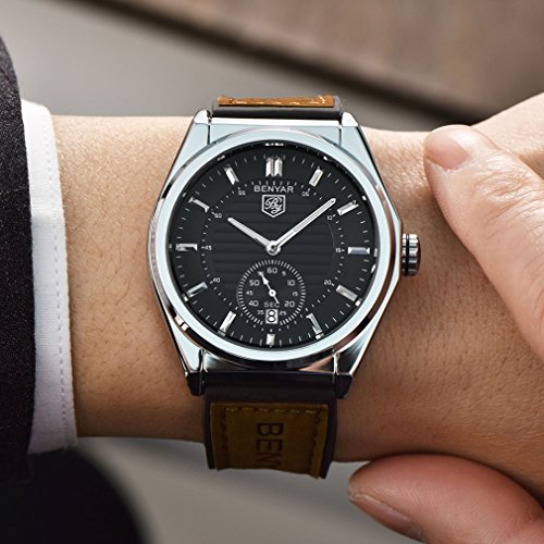 BENYAR-Waterproof-Watches-Business-Casual-Silicone-And-Leather-Band-Strap-Wrist-Watch-With-Date-For-Men