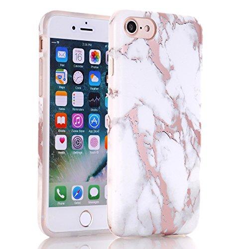 Baisrke Shiny Rose Gold White Marble Design Clear Bumper