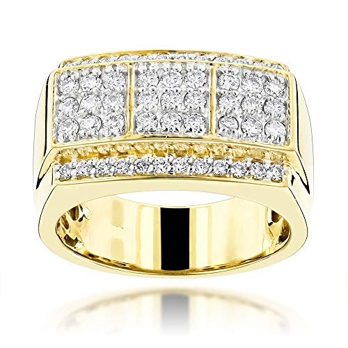(10kt Yellow Gold Mens Round Diamond Cluster Ring 0.50Cttw)