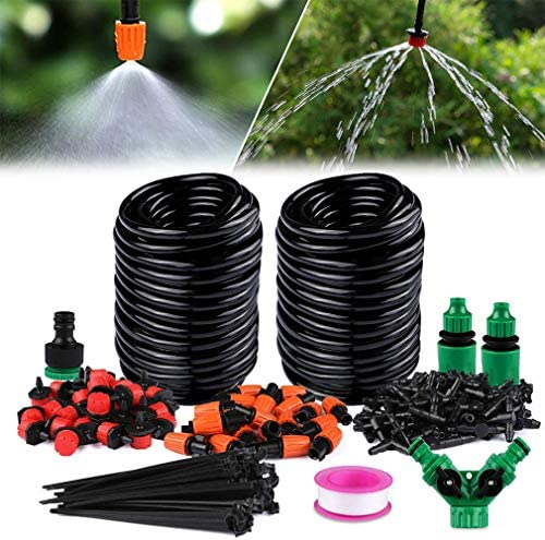 100FT / 30Mブランク分配チューブ、Yバルブを備えた調整可能な自動ミスト冷却システムを備えたDIY節水ガーデン灌漑システム