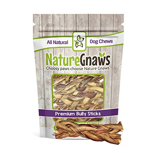 (Nature Gnaws Braided Bully Sticks 5-6 inch (10 Pack) - 100% Natural Grass-Fed Free-Range Premium Beef Dog Chews)