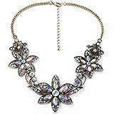 style 5 white AB - Women Fashion Pendant Crystal Flower Choker Chunky Statement Chain Bib Necklace