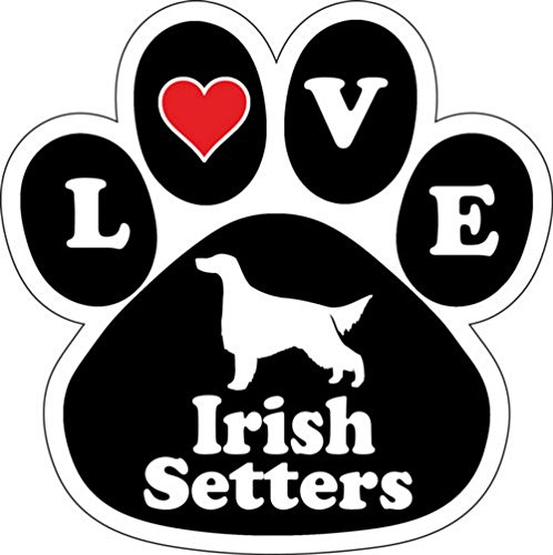 Love Irish Setters Dog Breed Paw Print Car Magnet 5 1/2