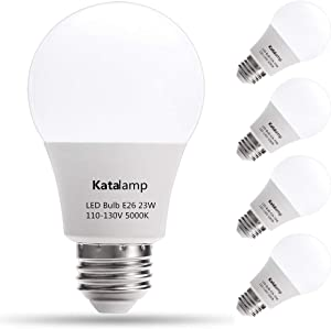 A21 LED Light Bulbs 23 Watt (UL-Listed), 150W-200W Equivalent, 5000K at 2500 Lumens, Standard Medium Screw E26 Base, Daylight White, Home/Office Interior Frosted Decor Lights, Non-Dimmable, (4-Pack)