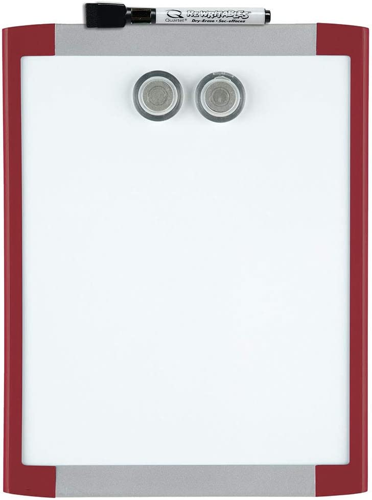 """Quartet Magnetic Whiteboard, 8-1/2"""" x 11"""" White Board, Dry Erase Board, Red Frame (MHOW8511-RD)"""