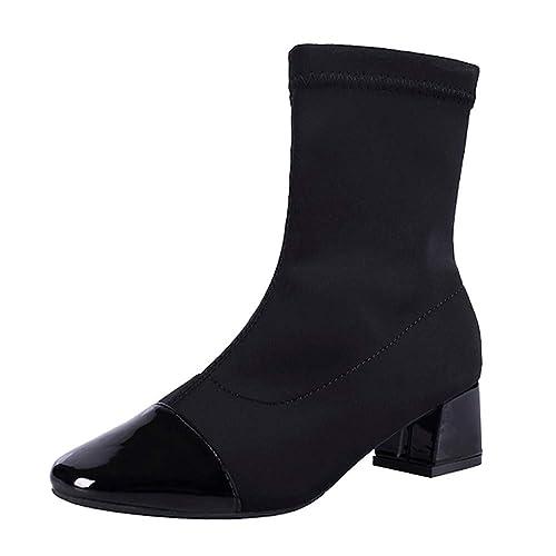 Botines cuña tacón para Mujer Otoño Invierno Moda 2018 PAOLIAN Botines tacón Ancho Botas Militares Alta de Zapatos de Señora Talla Grande Casual Retro ...