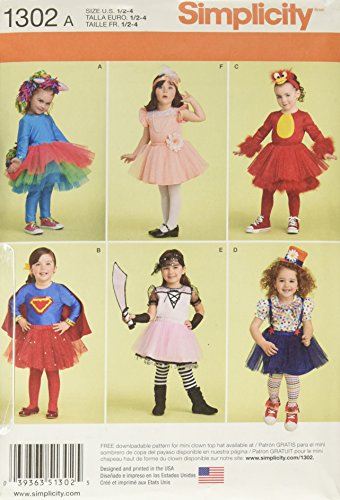 SIMPLICITY US1302A Toddlers' Costume with Knit Leggings Sewing Template]()