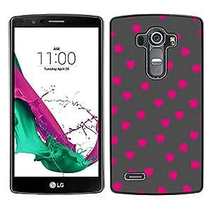 // PHONE CASE GIFT // Duro Estuche protector PC Cáscara Plástico Carcasa Funda Hard Protective Case for LG G4 / Pink Polka Dot Pattern Grey /