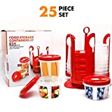 Fun Life Food Storage Container Set with Rotating Rack (25-Piece)