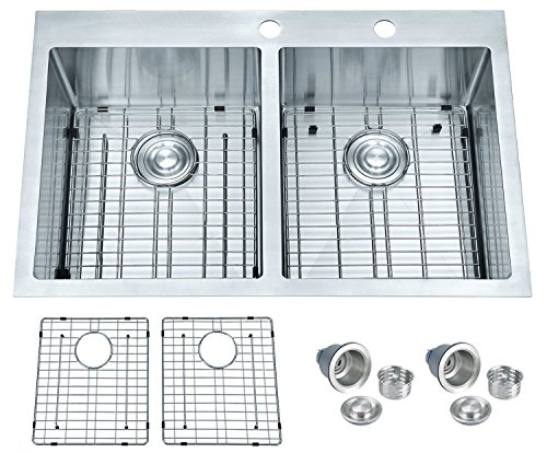 BILLION Topmount or Drop-in Sink 50/50 Equal Double Bowl Drop-in Overmount 16 Gauge Handcrafted Stainless Steel Kitchen Sink, with Bottom Grid and Drainer, 33