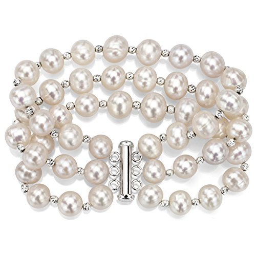Sterling Silver 9-9.5mm White Freshwater Cultured Pearl 3-rows Bracelet with Sparkling Beads, 7.5