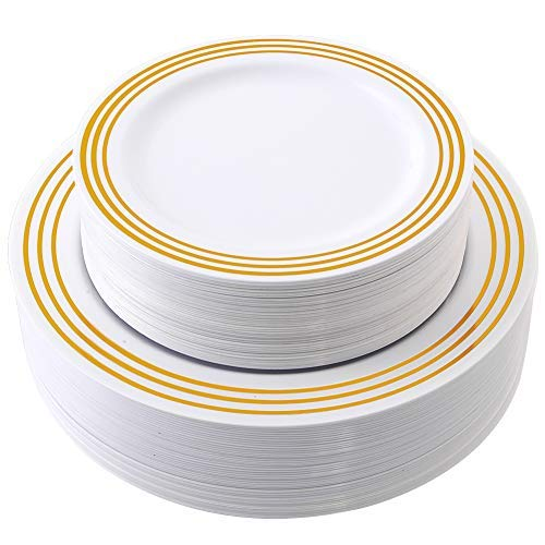 Gold Plastic Plates 80 Pieces, Premium Heavyweight Disposable Wedding Plates Includes: 40 Dinner Plates 10.25 Inch and 40 Salad/Dessert Plates 7.25 Inch by WELLIFE