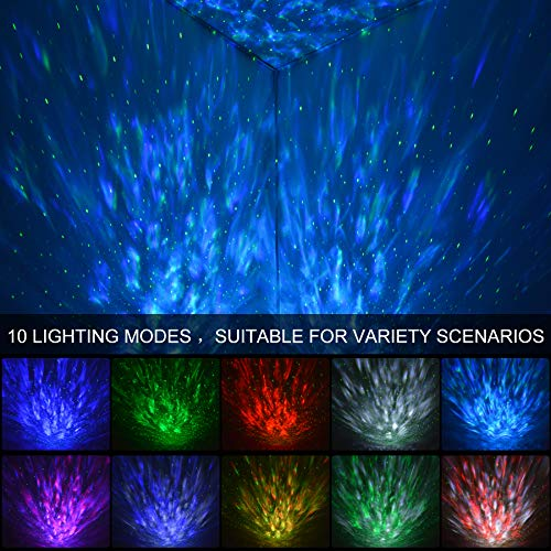 Sylvwin Star Light Projector,Ocean Wave Star Night Light with Bluetooth Music Speaker,Star Projector Lamp with Timer & Remote Control for Baby Kids Bedroom/Party/Christmas/Gift