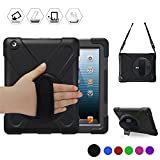 BRAECN iPad 4 Case,iPad 3 Case,iPad 2 Case Shock-Absorption Three Layer Armor Defender Protective Case [Heavy Duty] With 360 Degree Rotatable Built-in Kickstand/Hand Strap For iPad 2/3/4 (Black)