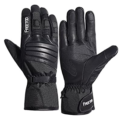 FREETOO Mens Winter Gloves, Outdoor Waterproof Warm Gloves, Screen Touch Motorcycle Gloves for Outdoor Work