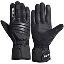 Winter Ski Gloves, FREETOO Waterproof Thinsulate Thermal Warmest Winter Snow Gloves with Gauntlet-style Goat Leather and Touchscreen for Men Skiing Snowboarding Motorcycle Work etc.