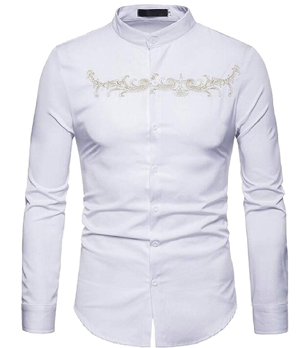 Yayu Mens Slim Fit Embroidery Stand Collar Long Sleeve Button up Shirts Tops
