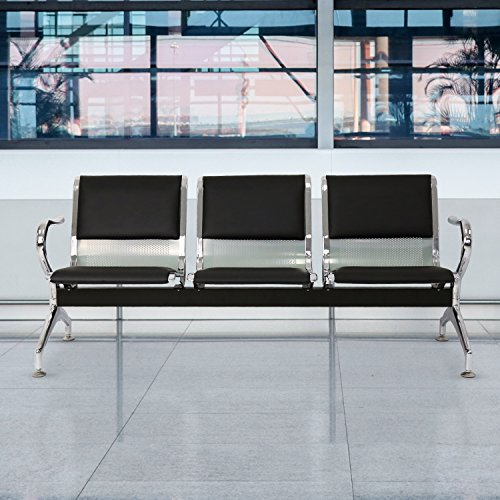 Kinbor PU Leather 3-Seat Reception Bench Waiting Room Chair Airport Garden Salon Barber Guest Bench,Black (Seat Chair Reception)