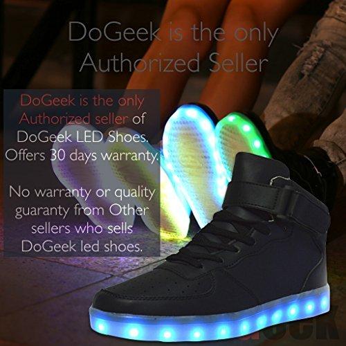 DoGeek Chaussures Lumineuse Unisex Adulte LED Chaussures Homme Femme Basket Lumineuse (36 EU, noir)