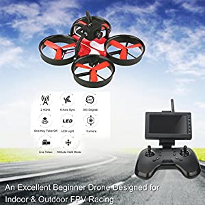 DLFPV RTF RC Drone Quadcopter with Camera HD 600TVL 5.8G LCD Monitor Receiver 2.4Ghz 8CH Remote Controller Easy Fly Indoor Drone for Beginners, Two Batteries by DLFPV