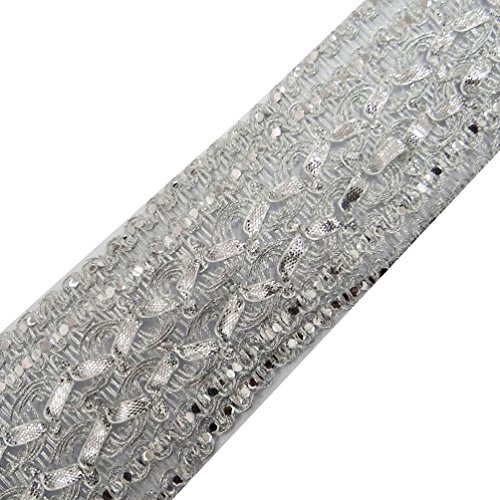 Silver Braided Ribbon Trim Crafting Ethnic Sari Border Apparel Dress Lace By The Yard Silver Braided Trim