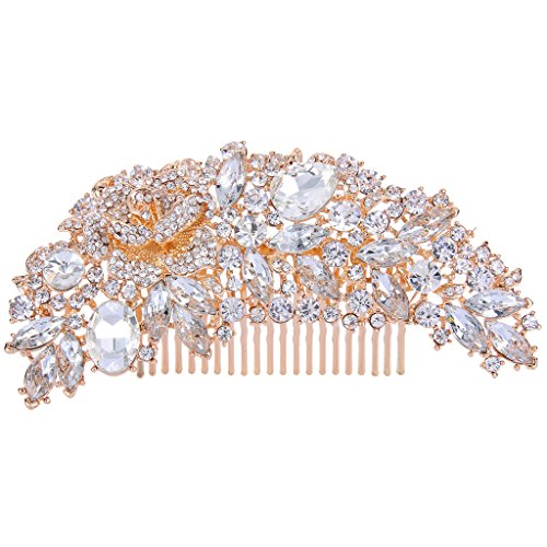 EVER FAITH Women's Austrian Crystal 5 Inch Bridal Flower Bouquet Hair Side Comb Clear Rose Gold-Tone (Bouquets Trendy)