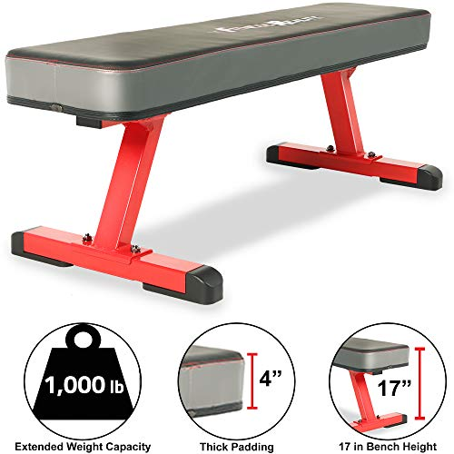 Fitness Reality 1500 4' Extra Thick Pad Flat Weight Bench with International Power Lifting Competition Standard, 1000lb Weight Capacity