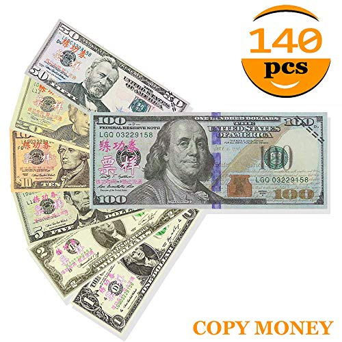 XDOWMO 140Pcs Prop Money Play Money Game Realistic Paper Money Full Print 2  Sided for Kids, Students, Movie, Pranks, Birthday Party, Play Board Games,